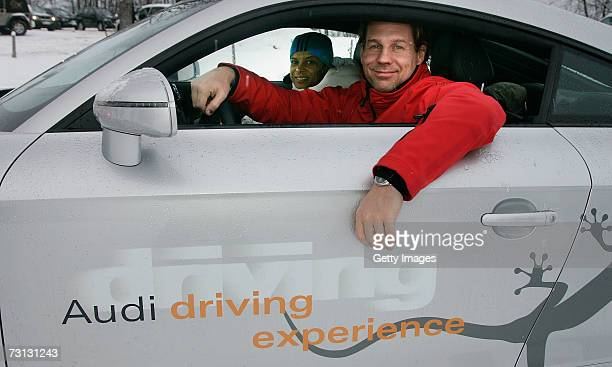 Actor Thomas Heinze poses in an Audi TT car during an Audi driving experience January 27 2007 in Kitzbuehel Austria