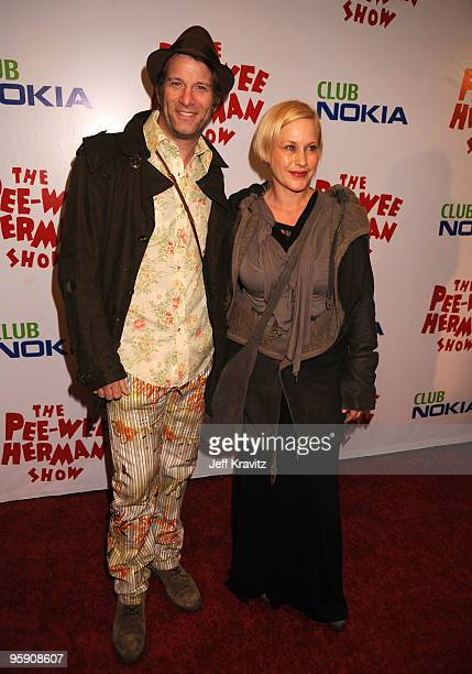 Actor Thomas Jane and actress Patricia Arquette arrive at The Peewee Herman Show Los Angeles Opening Night at Club Nokia on January 20 2010 in Los...