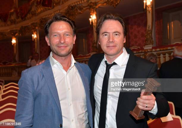 Actor Thomas Kretschmann and Michael Bully Herbig during the Bernhard Wicki Award during the Munich Film Festival 2019 at Cuvilles Theatre on June 25...