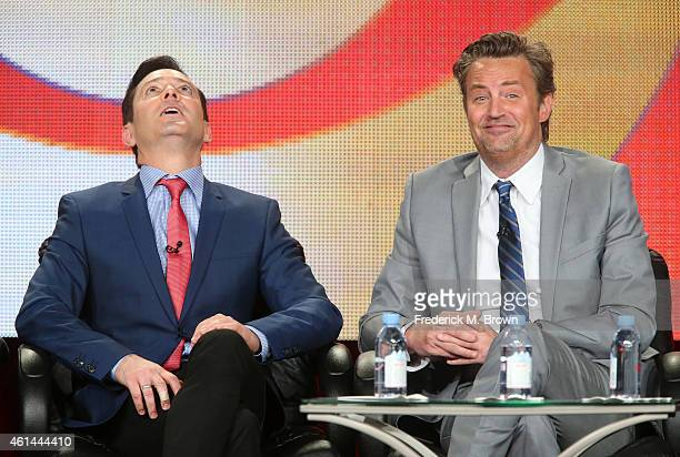 Actor Thomas Lennon and actor/executive producer Matthew Perry speak onstage during 'The Odd Couple' panel as part of the CBS/Showtime 2015 Winter...