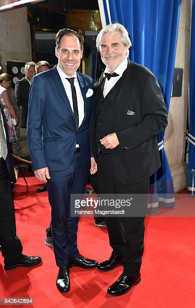 Actor Thomas Loibl and Peter Simonischek during the opening night of the Munich Film Festival 2016 at Hotel Bayerischer Hof on June 23 2016 in Munich...