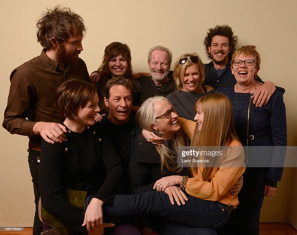 Actor Thomas M. Wright, musician Georgi Kay, actor Peter Mullan, Robin Malcolm, director Garth Davis, producer Philippa Campbell, (bottom L-R) actress Elisabeth Moss, writer Gerard Lee, director/writer Jane Campion and actress Holly Hunter pose for a portrait during the 2013 Sundance Film Festival at the Getty Images Portrait Studio at Village at the Lift on January 19, 2013 in Park City, Utah.