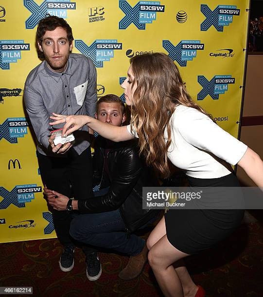 Actor Thomas Middleditch actor Alexander Ludwig and actress Taissa Farmiga attend the premiere of 'The Final Girls' during the 2015 SXSW Music Film...