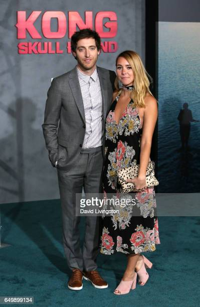 Actor Thomas Middleditch and costumer Mollie Gates attend the premiere of Warner Bros Pictures' Kong Skull Island at Dolby Theatre on March 8 2017 in...