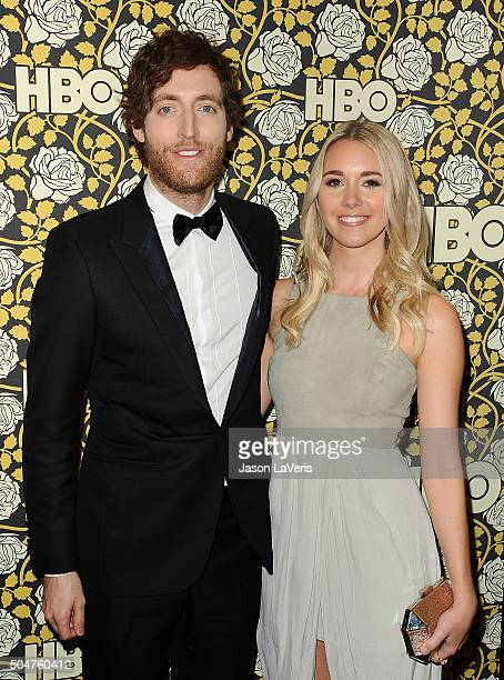 Actor Thomas Middleditch and Mollie Gates attend HBO's post 2016 Golden Globe Awards party at Circa 55 Restaurant on January 10 2016 in Los Angeles...