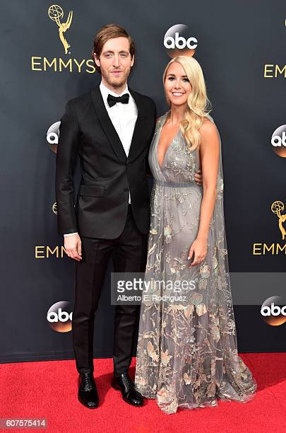 Actor Thomas Middleditch and Mollie Gates attend the 68th Annual Primetime Emmy Awards at Microsoft Theater on September 18 2016 in Los Angeles...