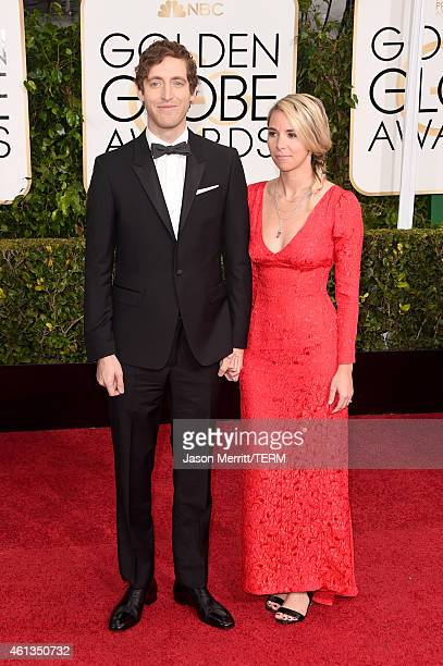 Actor Thomas Middleditch and Mollie Gates attend the 72nd Annual Golden Globe Awards at The Beverly Hilton Hotel on January 11 2015 in Beverly Hills...