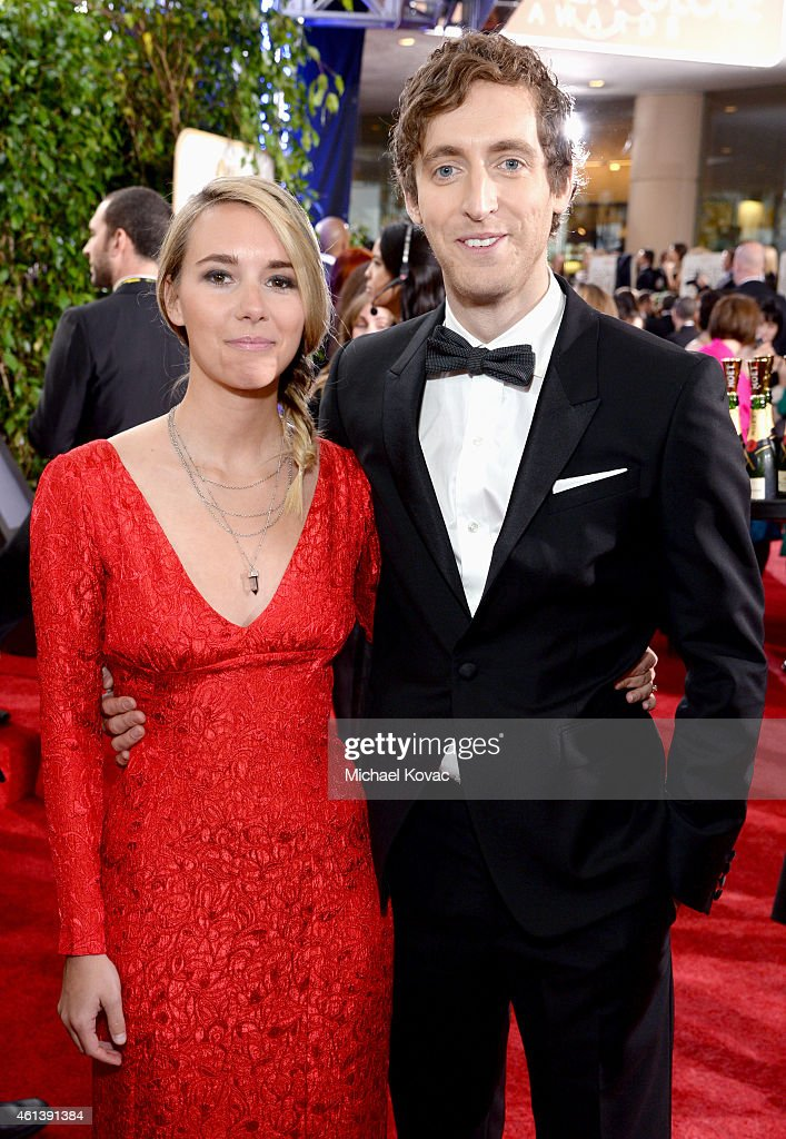Actor Thomas Middleditch (R) and Mollie Gates attend the 72nd Annual Golden Globe Awards at The Beverly Hilton Hotel on January 11, 2015 in Beverly Hills, California.