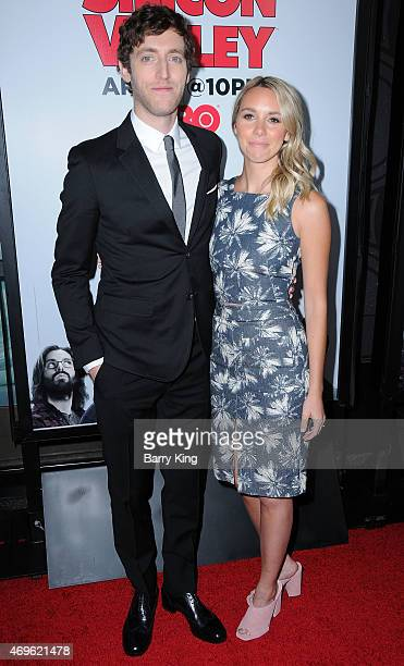 Actor Thomas Middleditch and Mollie Gates attend the HBO 'Silicon Valley' season 2 premiere at the El Capitan Theatre on April 2 2015 in Hollywood...