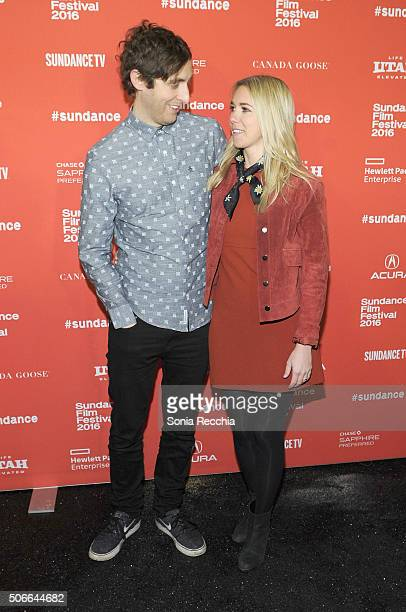 Actor Thomas Middleditch and Mollie Gates attend the Joshy Premiere during the 2016 Sundance Film Festival at Library Center Theater on January 24...