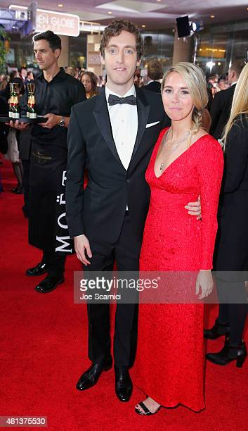 Actor Thomas Middleditch and Mollie Gates attends the 72nd Annual Golden Globe Awards at The Beverly Hilton Hotel on January 11 2015 in Beverly Hills...