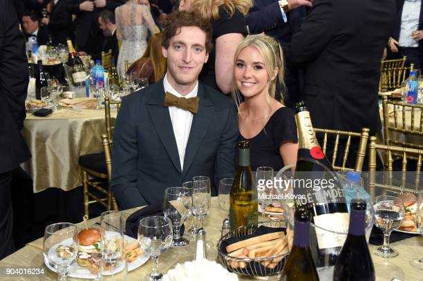 Actor Thomas Middleditch and set costumer Mollie Gates attend Moet Chandon celebrate The 23rd Annual Critics' Choice Awards at Barker Hangar on...