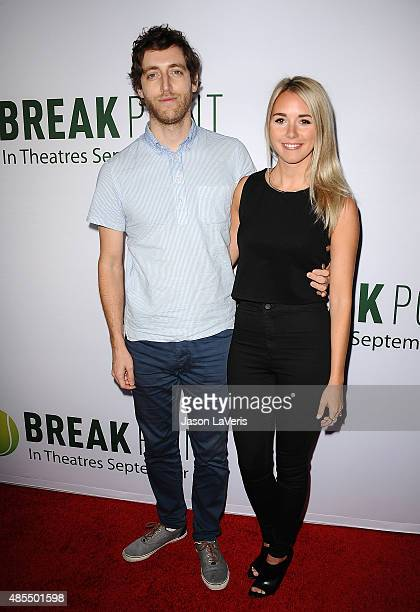 Actor Thomas Middleditch and wife Mollie Middleditch attend a screening of Break Point at TCL Chinese 6 Theatres on August 27 2015 in Hollywood...