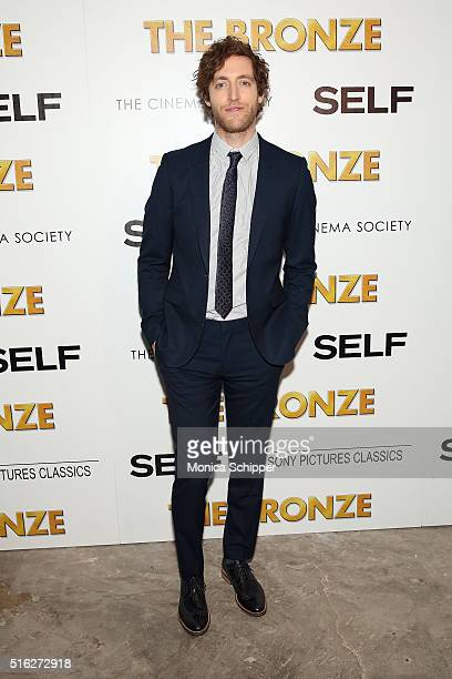 Actor Thomas Middleditch attends The Cinema Society SELF host a screening of Sony Pictures Classics' The Bronze at Metrograph on March 17 2016 in New...