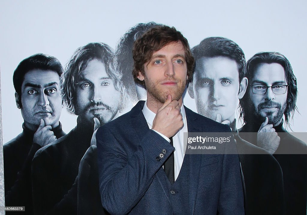 Actor Thomas Middleditch attends the premiere of HBO's 'Silicon Valley' at Paramount Studios on April 3, 2014 in Hollywood, California.