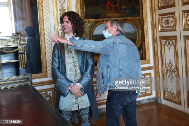 Actor Thomas Soliveres who plays the role of young Voltaire and director Alain Tsama work during Les Aventures du jeune Voltaire TV Series Shooting...
