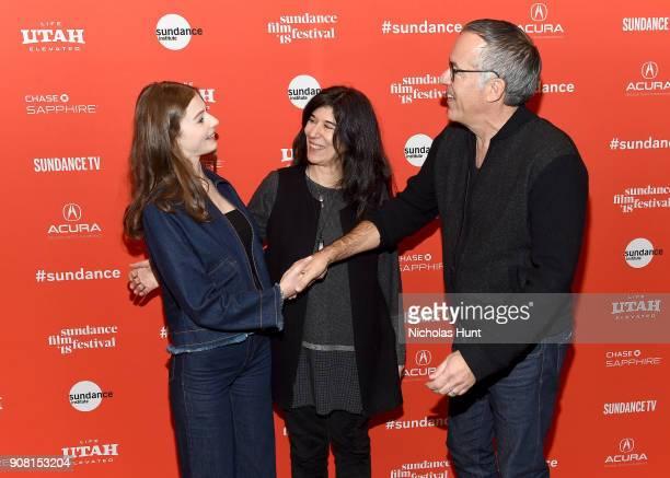 "Actor Thomasin McKenzie, Director Debra Granik and Sundance Film Festival Director John Cooper attend the ""Leave No Trace"" Premiere during the 2018..."