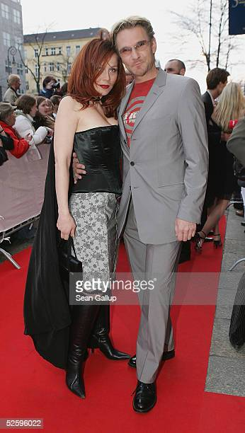 "Actor Thure Riefenstein and actress Patricia Lueger arrives for the premiere of the musical ""3 Musketiere"" April 6, 2005 in Berlin, Germany."