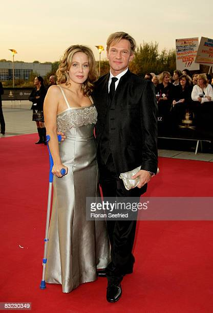 Actor Thure Riefenstein and Patricia Lueger arrive for the German TV Award 2008 at the Coloneum on October 11, 2008 in Cologne, Germany.
