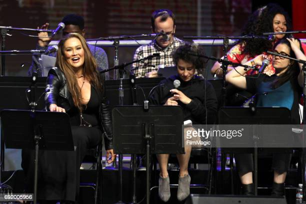 Actor Tia Carrere and comedians Abbi Jacobson and Ilana Glazer perform onstage during the Wayne's World 25th Anniversary Live Read at The Bill Graham...