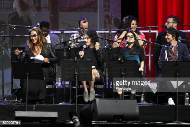 Actor Tia Carrere and comedians Abbi Jacobson Ilana Glazer and Tig Notaro perform onstage during the Wayne's World 25th Anniversary Live Read at The...