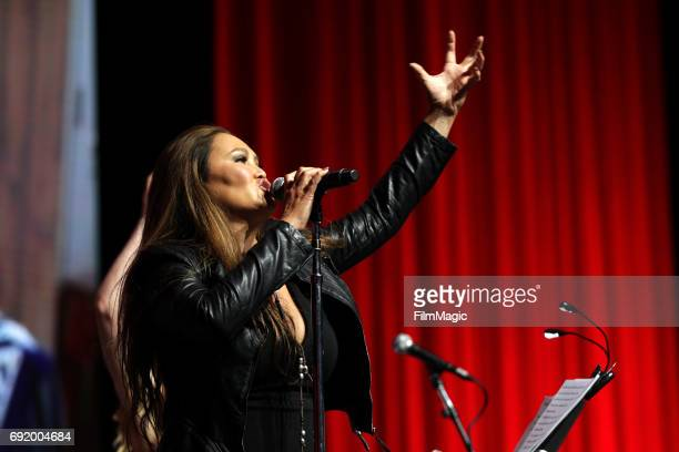 Actor Tia Carrere performs during the Wayne's World 25th Anniversary Live Read onstage at The Bill Graham Stage during Colossal Clusterfest at Civic...