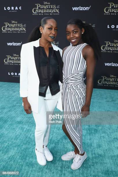 """Actor Tichina Arnold and Alijah Kai Haggins at the Premiere of Disney's and Jerry Bruckheimer Films' """"Pirates of the Caribbean Dead Men Tell No..."""