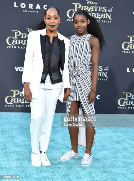 Actor Tichina Arnold and daughter Alijah Kai Haggins arrives at the Premiere Of Disney's Pirates Of The Caribbean Dead Men Tell No Tales at Dolby...