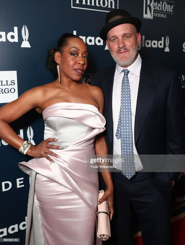 Actor Tichina Arnold (L) and Mike O'Malley attends the 28th Annual GLAAD Media Awards in LA at The Beverly Hilton Hotel on April 1, 2017 in Beverly Hills, California.