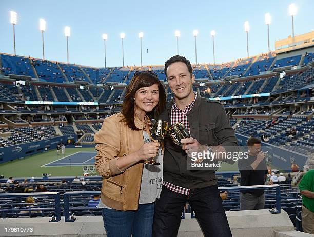 Actor Tiffani Thiessen and Brady Smith attend The Moet Chandon Suite at USTA Billie Jean King National Tennis Center on September 5 2013 in New York...
