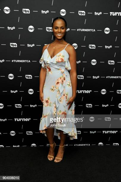 Actor Tika Sumpter of 'Final Space' poses in the green room during the TCA Turner Winter Press Tour 2018 Presentation at The Langham Huntington...