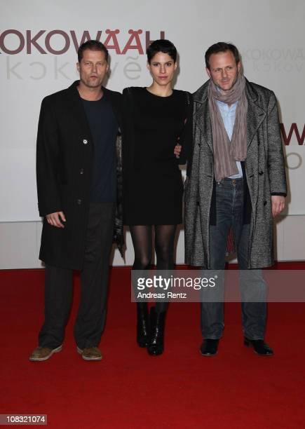 Actor Til Schweiger actress Jasmin Gerat and actor Samuel Finzi arrive for the ''Kokowaeaeh' Germany Premiere at CineStar on January 25 2011 in...