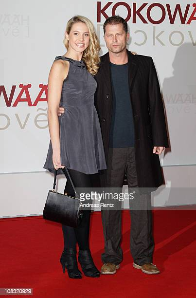 Actor Til Schweiger and his partner Svenja Holtmann arrive for the ''Kokowaeaeh' Germany Premiere at CineStar on January 25 2011 in Berlin Germany