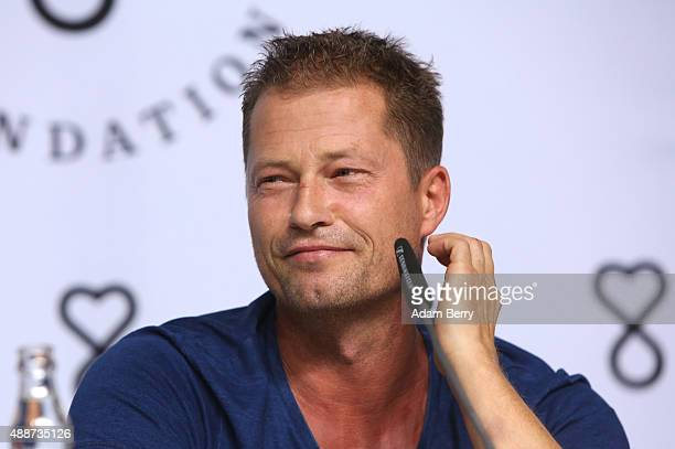 Actor Til Schweiger attends a press conference in connection with the launch of the Til Shweiger Foundation at Palais in der Kulturbrauerei on...