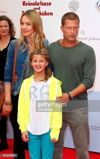 Actor Til Schweiger his daughter Emma Schweiger and his girlfriend Svenja Holtmann attend the premiere of the film 'Keinohrhase und Zweiohrkueken' at...