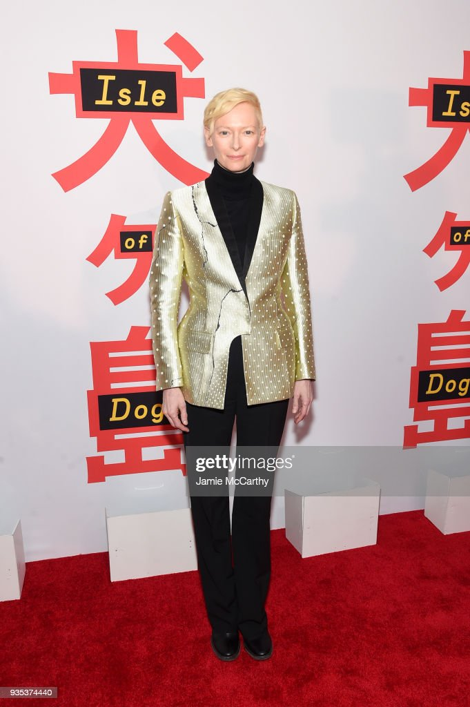 Actor Tilda Swinton attends the 'Isle Of Dogs' New York Screening at The Metropolitan Museum of Art on March 20, 2018 in New York City.