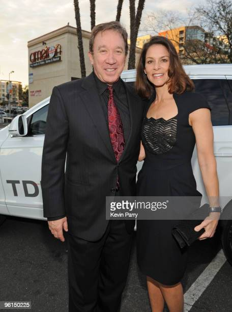 Actor Tim Allen and actress Jane Hajduk arrivein an Audi TDI to the 21st Annual PGA Awards at the Hollywood Palladium on January 24 2010 in Hollywood...