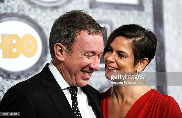Actor Tim Allen and his wife Jane Hajduk arrive at the Family Equality Council's Annual Los Angeles Awards Dinner at The Globe Theatre on February 8...