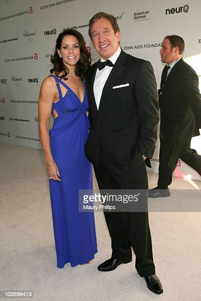 Actor Tim Allen and Jane Hajduk arrives at the 18th annual Elton John AIDS Foundation Oscar Party held at Pacific Design Center on March 7 2010 in...