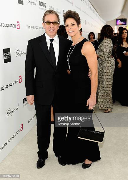 Actor Tim Allen and Jane Hajduk attend Chopard at 21st Annual Elton John AIDS Foundation Academy Awards Viewing Party at West Hollywood Park on...