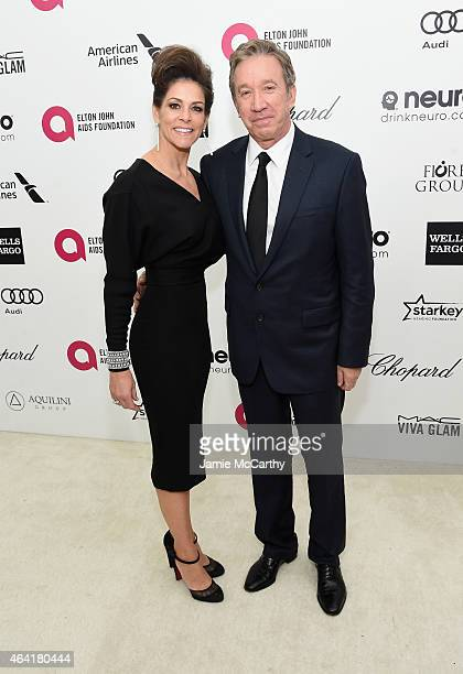 Actor Tim Allen and Jane Hajduk attend the 23rd Annual Elton John AIDS Foundation Academy Awards Viewing Party on February 22 2015 in Los Angeles...