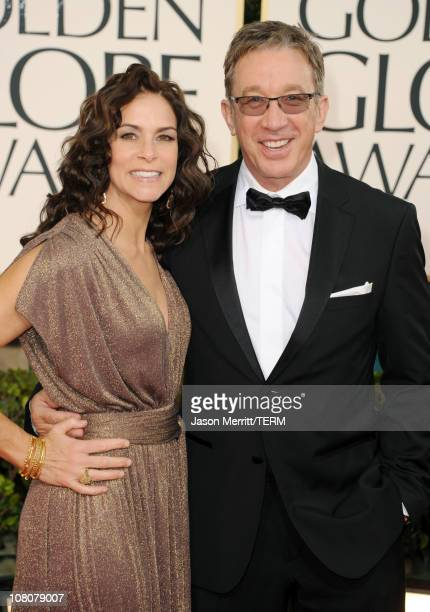 Actor Tim Allen and wife Jane Hajduk arrive at the 68th Annual Golden Globe Awards held at The Beverly Hilton hotel on January 16 2011 in Beverly...