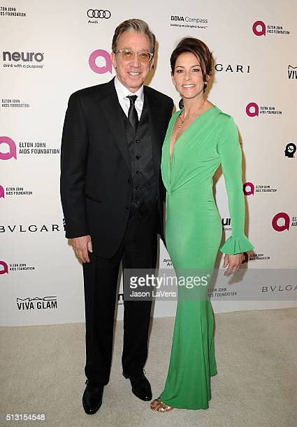 Actor Tim Allen and wife Jane Hajduk attend the 24th annual Elton John AIDS Foundation's Oscar viewing party on February 28 2016 in West Hollywood...