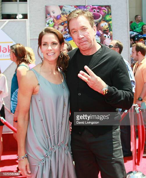 Actor Tim Allen and wife Jane Hajduk attend the Los Angeles premiere of Toy Story 3 at the El Capitan Theatre on June 13 2010 in Hollywood California