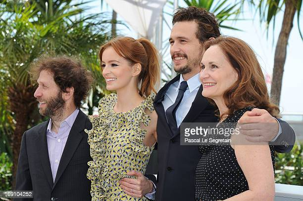 Actor Tim Blake Nelson, actress Ahna O'Reilly, director and actor James Franco and actress Beth Grant attends the photocall for 'As I Lay Dying' at...