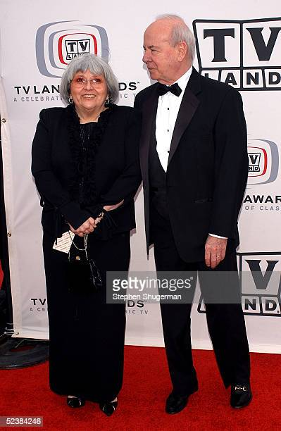Actor Tim Conway and his wife Charlene Fusco arrive at the 2005 TV Land Awards at Barker Hangar on March 13 2005 in Santa Monica California