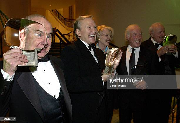 Actor Tim Conway designer Bob Mackie actress Evans Evans director Bud Yorkin and actor Harvey Korman pose with their awards at The Academy of...
