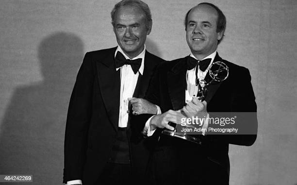 Actor Tim Conway poses with costar Harvey Korman after winning Best Supporting Actor in Variety or Music For 'The Carol Burnett Show' at the 30th...