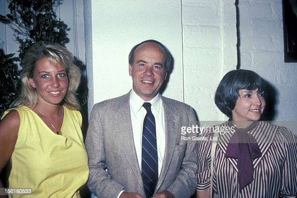 Actor Tim Conway wife Charlene Fusco and daughter Kelly Conway pose for photos on August 9 1983 at Chasen's Restaurant in Beverly Hills California