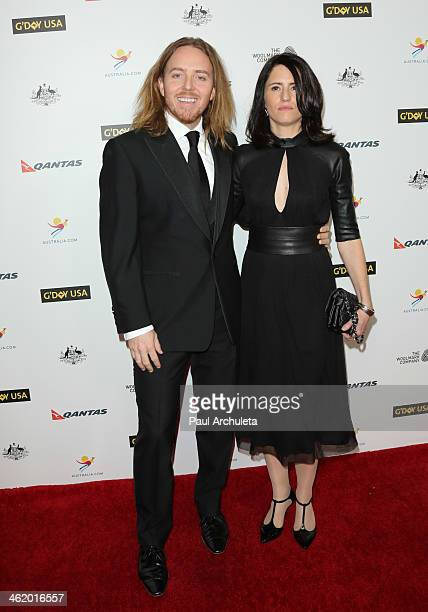 Actor Tim Minchin and his Wife Sarah Minchin attend the 2014 G'Day USA Los Angeles black tie gala at the JW Marriott Los Angeles at LA LIVE on...